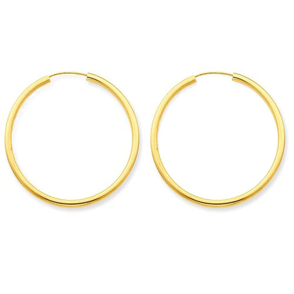 14K Yellow Gold 30mm x 2mm Round Endless Hoop Earrings