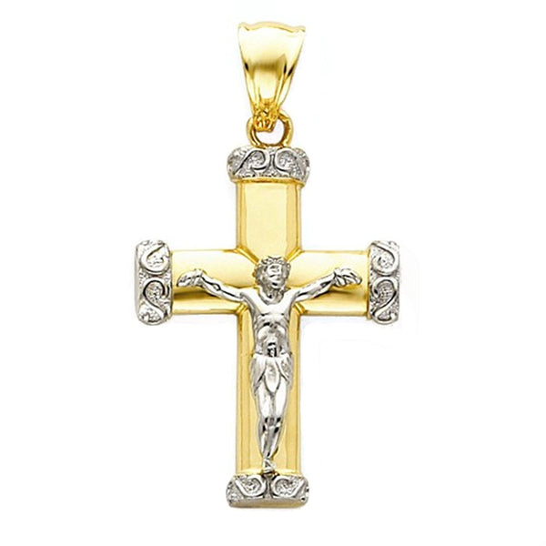 14k Gold Two Tone Crucifix Cross Open Back Pendant Charm