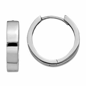 14k White Gold Classic Polished Hinged Hoop Huggie Earrings