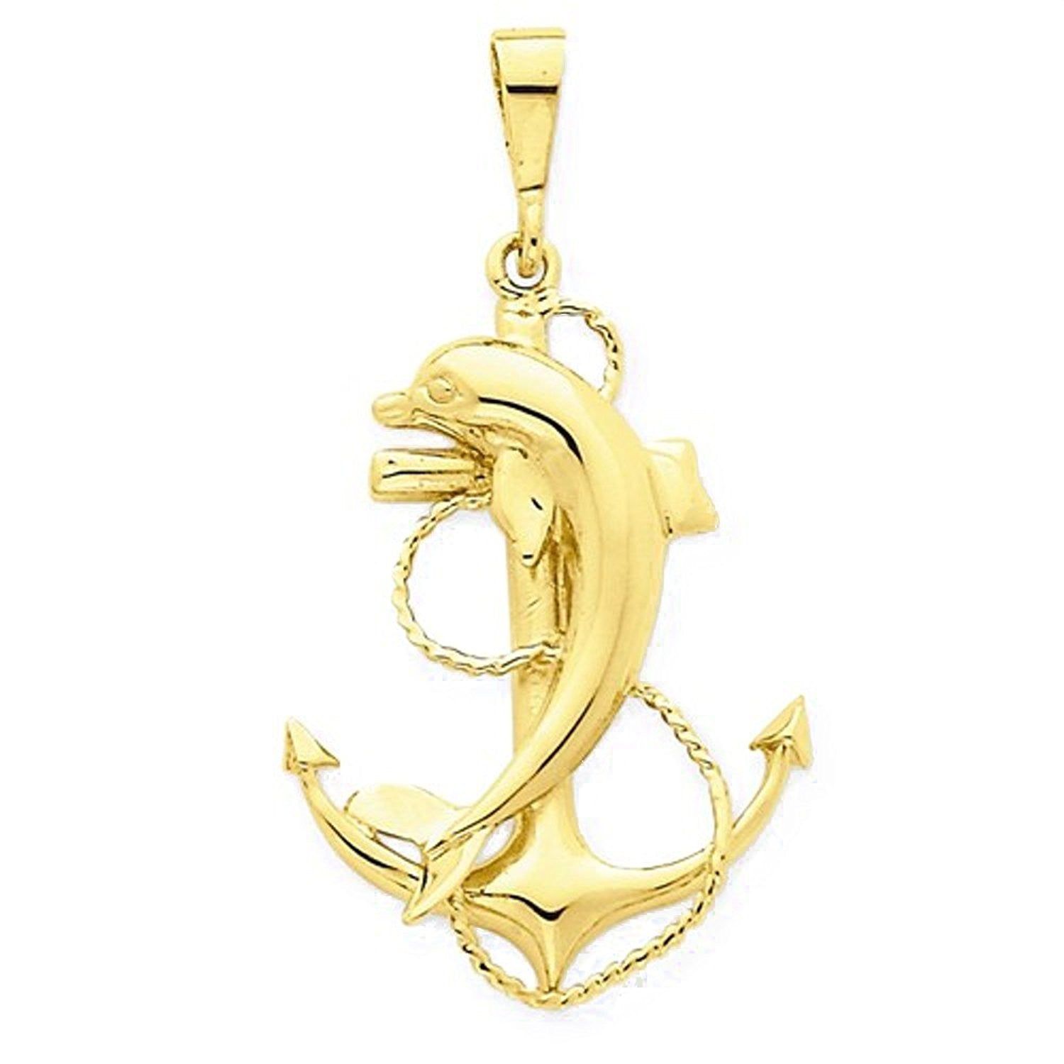 14k Yellow Gold Anchor Dolpin Open Back Pendant Charm