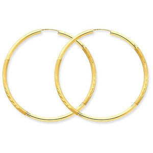 14K Yellow Gold 40mm Satin Textured Round Endless Hoop Earrings