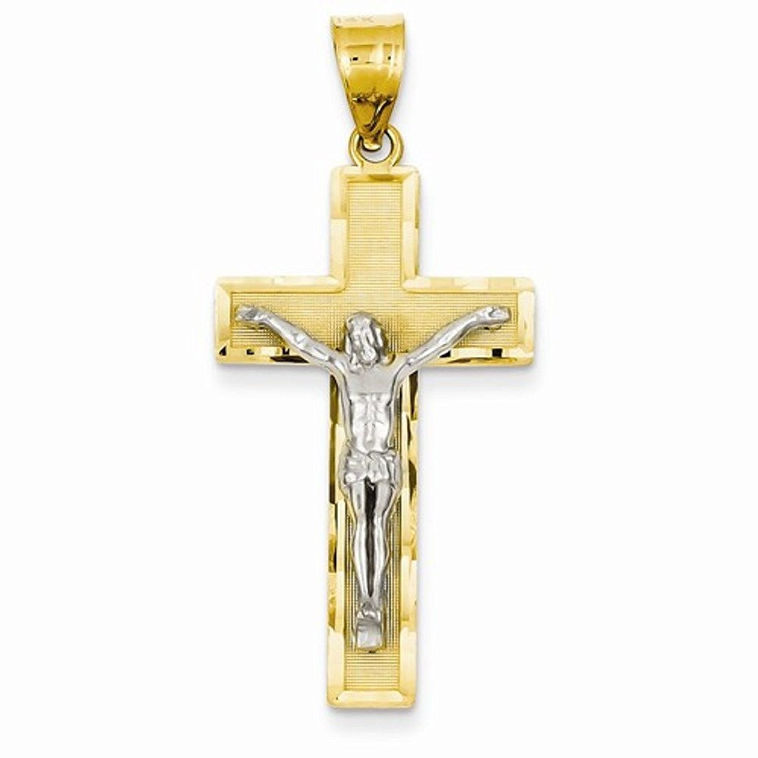 14k Gold Two Tone Crucifix Cross Pendant Charm