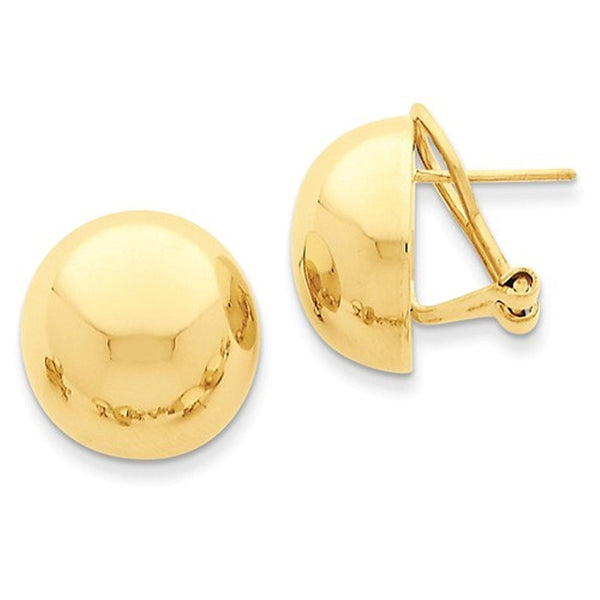 14k Yellow Gold Polished 16mm Half Ball Omega Clip Earrings