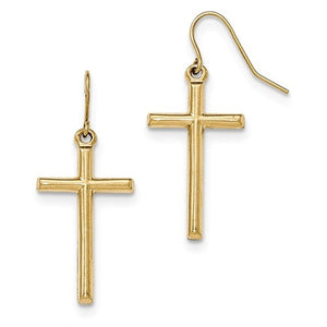 14k Yellow Gold Hollow Cross Shepherd Hook Dangle Earrings