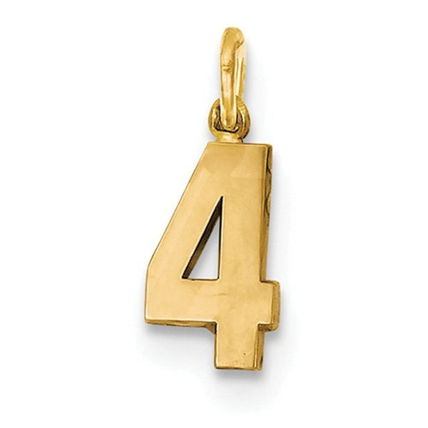 14k Yellow Gold Number 4 Four Pendant Charm