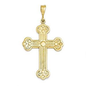 14k Yellow Gold Budded Cross Flat Back Pendant Charm
