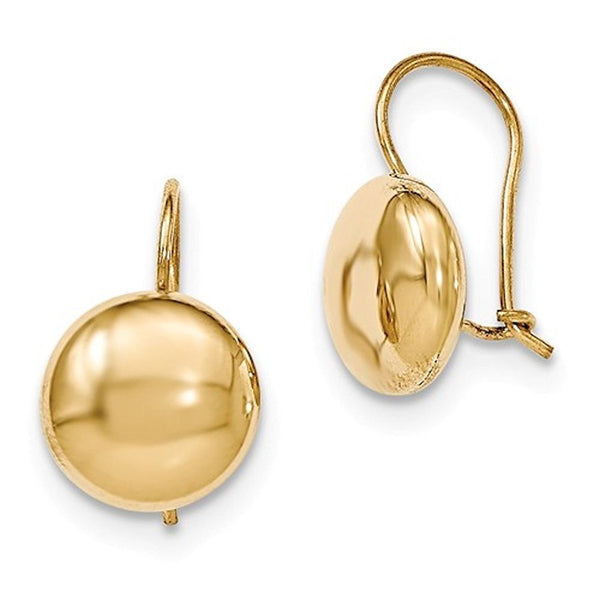 14k Yellow Gold Round Button 12mm Kidney Wire Button Earrings