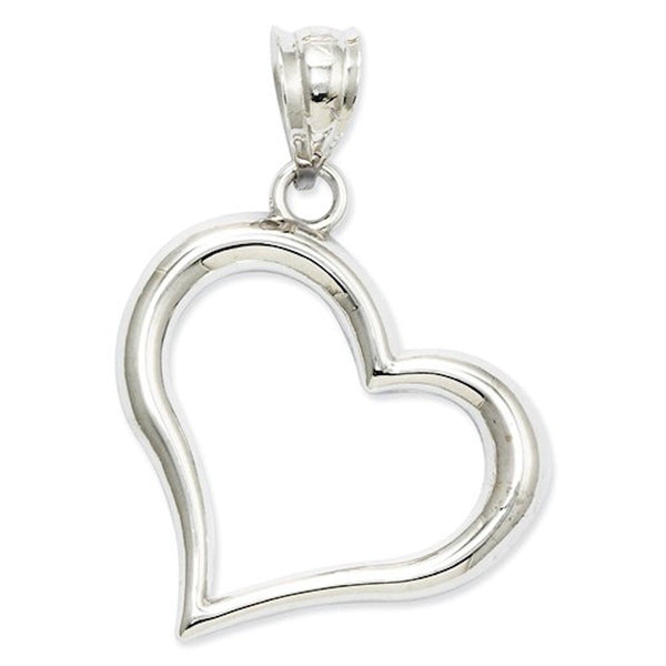 14k White Gold Heart Open Back Pendant Charm