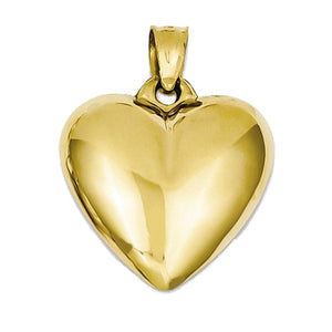 14k Yellow Gold Small Puffy Heart 3D Pendant Charm