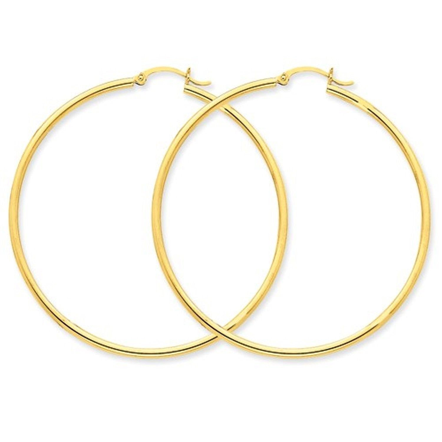 14K Yellow Gold 52mmx2mm Lightweight Classic Round Hoop Earrings