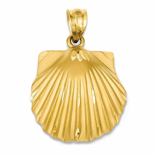 14k Yellow Gold Seashell Pendant Charm