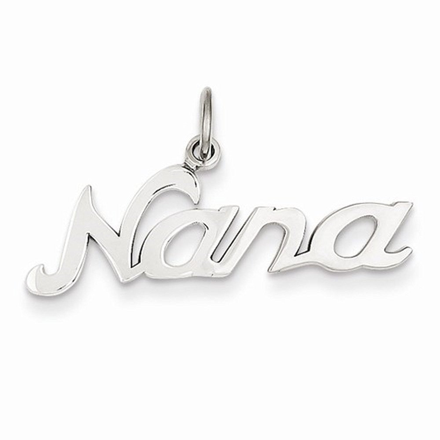 14k White Gold Nana Cut Out Pendant Charm