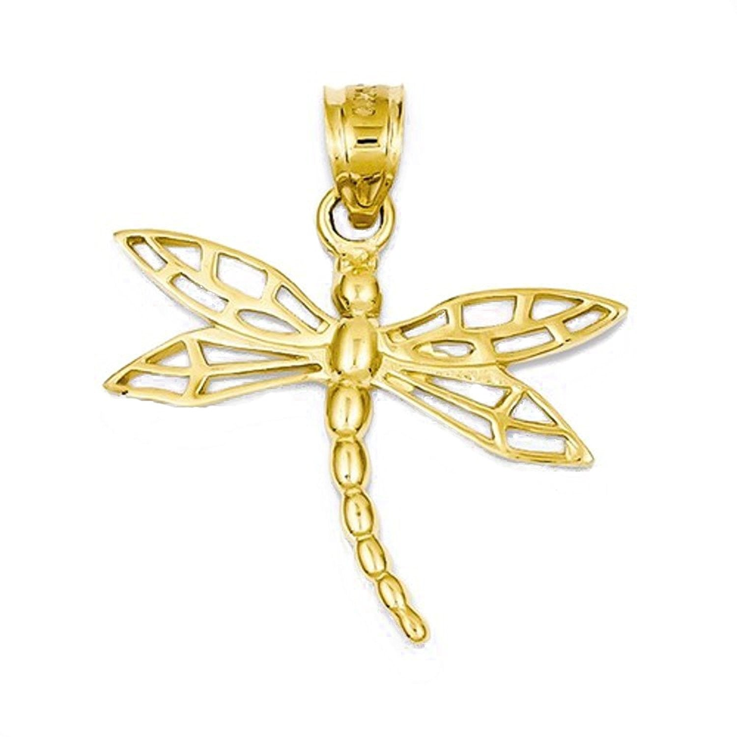 14k Yellow Gold Dragonfly Open Back Pendant Charm