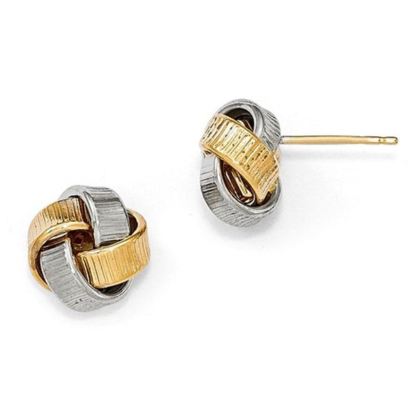 14k Gold Two Tone Textured Love Knot Post Stud Earrings