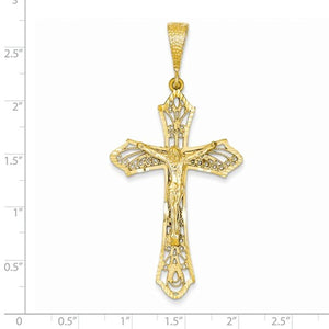 14k Yellow Gold Large Cross Crucifix Pendant Charm