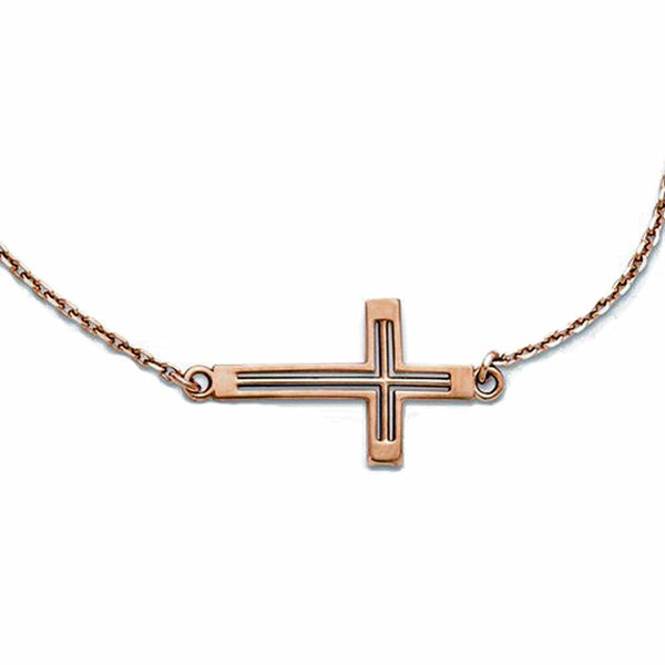 14k Rose Gold Sideways Cut Out Cross Necklace 19 Inches