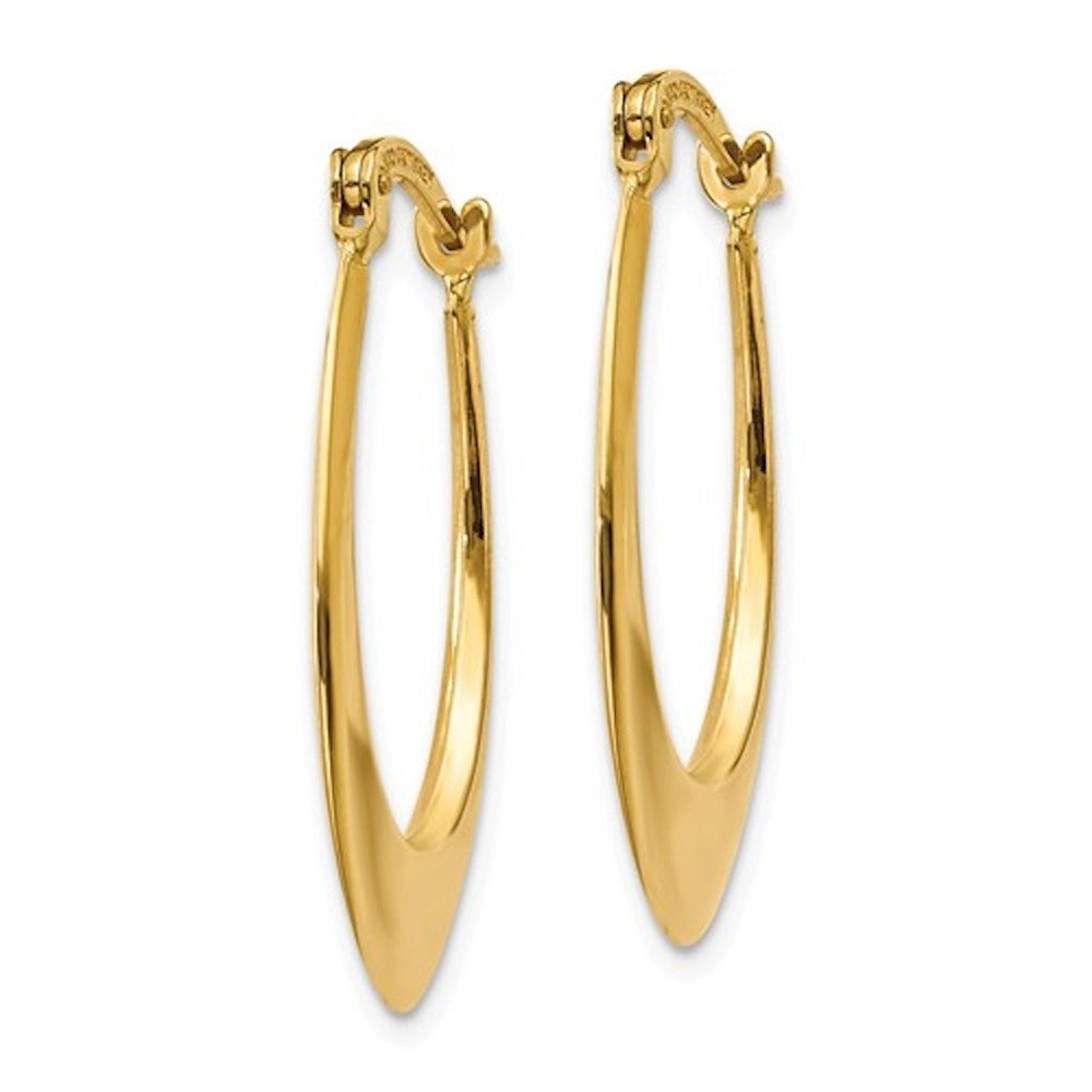 14k Yellow Gold Classic Oval Tube Hoop Earrings