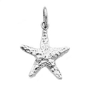 14k White Gold Starfish 3D Small Pendant Charm