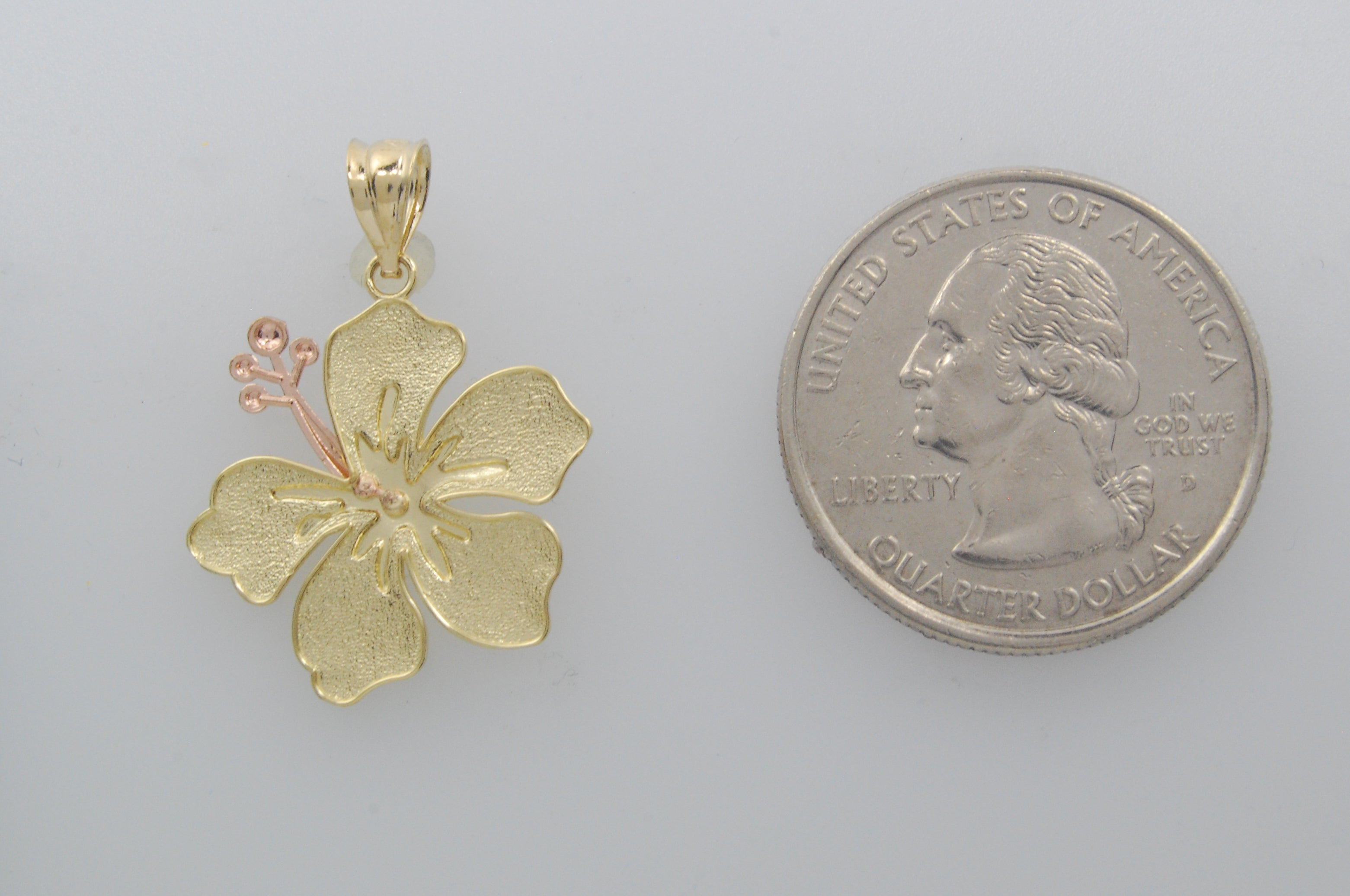14k Gold Two Tone Hibiscus Flower Pendant Charm