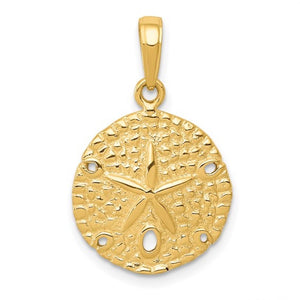 14k Yellow Gold Sand Dollar Pendant Charm