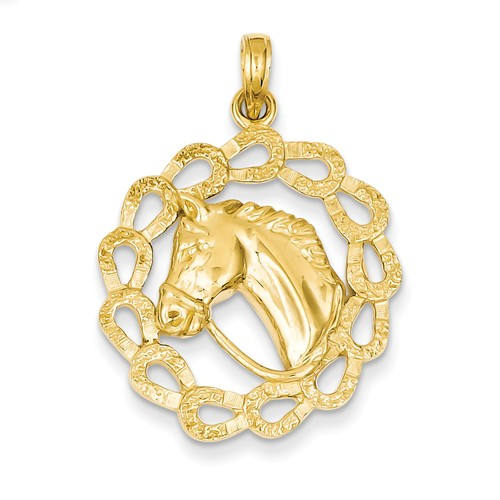 14k Yellow Gold Horse Pony Head Horseshoes Pendant Charm