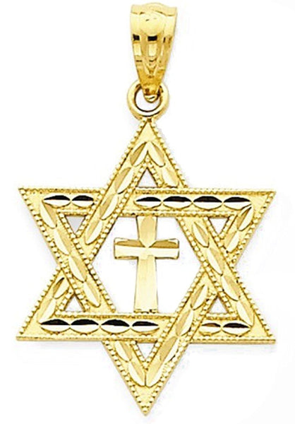 14k Yellow Gold Star of David with Cross Pendant Charm