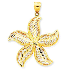 14k Yellow Gold Large Starfish Filigree Pendant Charm