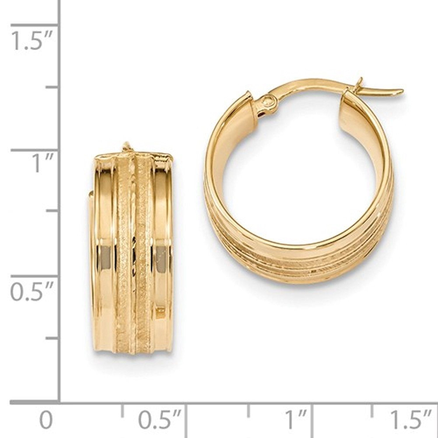 14K Yellow Gold 18mmx7.8mm Modern Contemporary Round Hoop Earrings