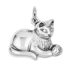 14k White Gold Cat Kitten Open Back Pendant Charm