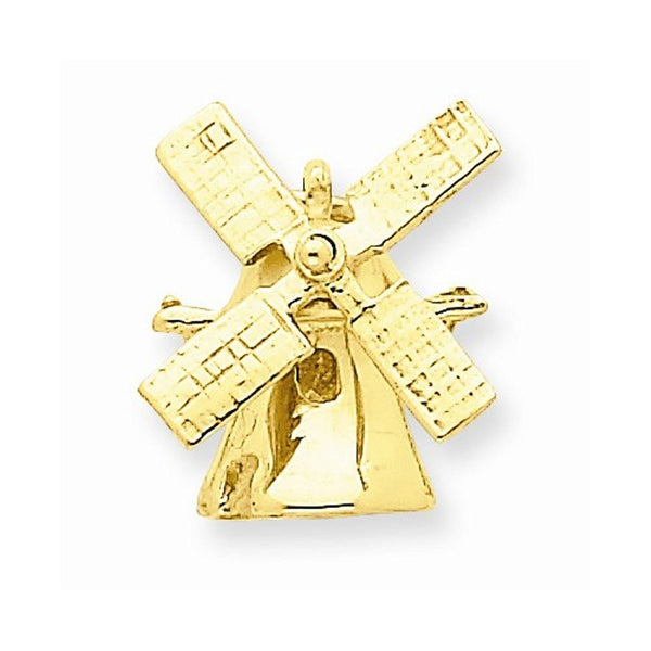 14k Yellow Gold Windmill Moveable 3D Solid Pendant Charm