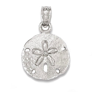14k White Gold Small Sand Dollar Pendant Charm