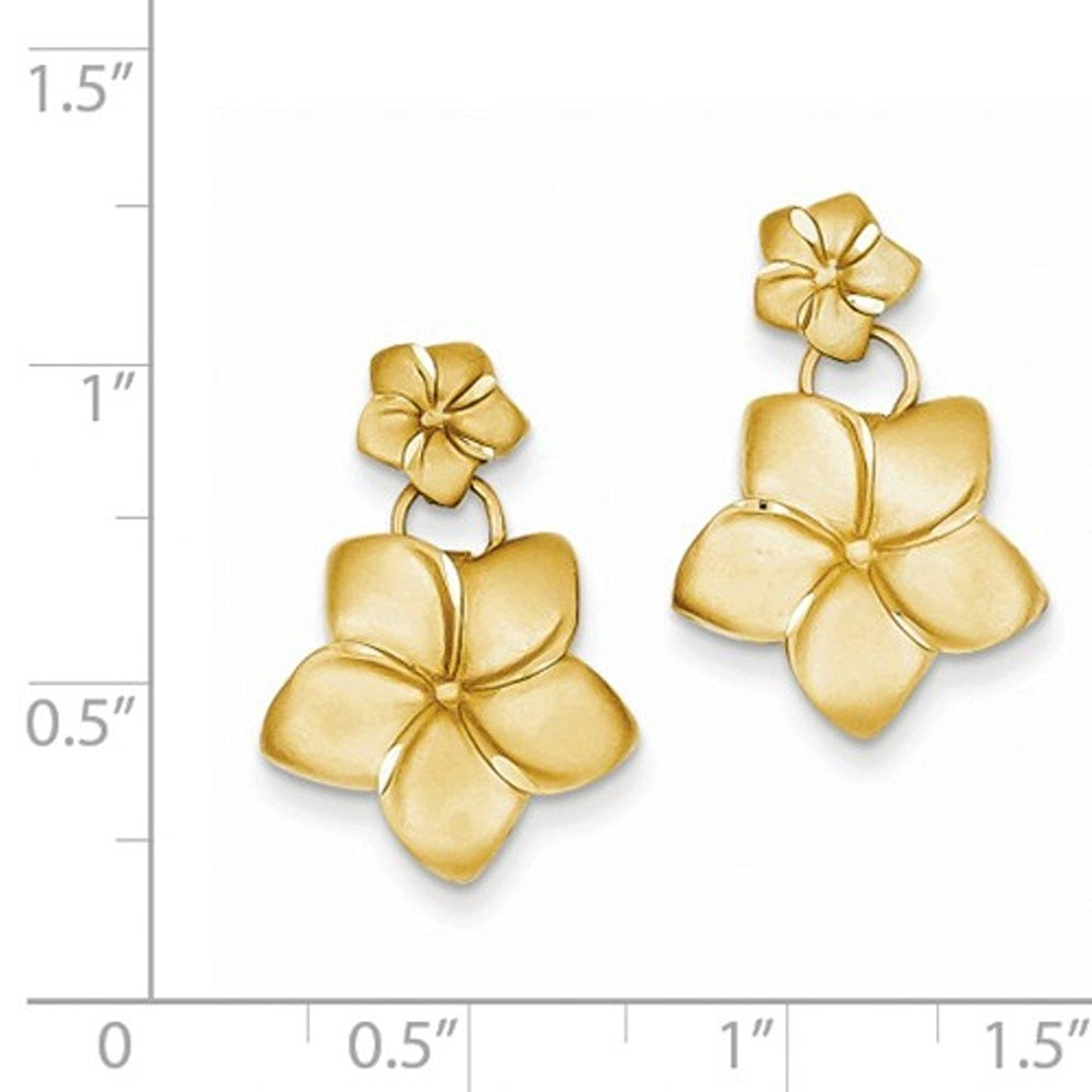 14k Yellow Gold Plumeria Flower Post Drop Dangle Earrings