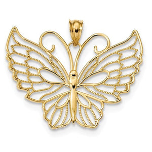 14k Yellow Gold Butterfly Pendant Charm