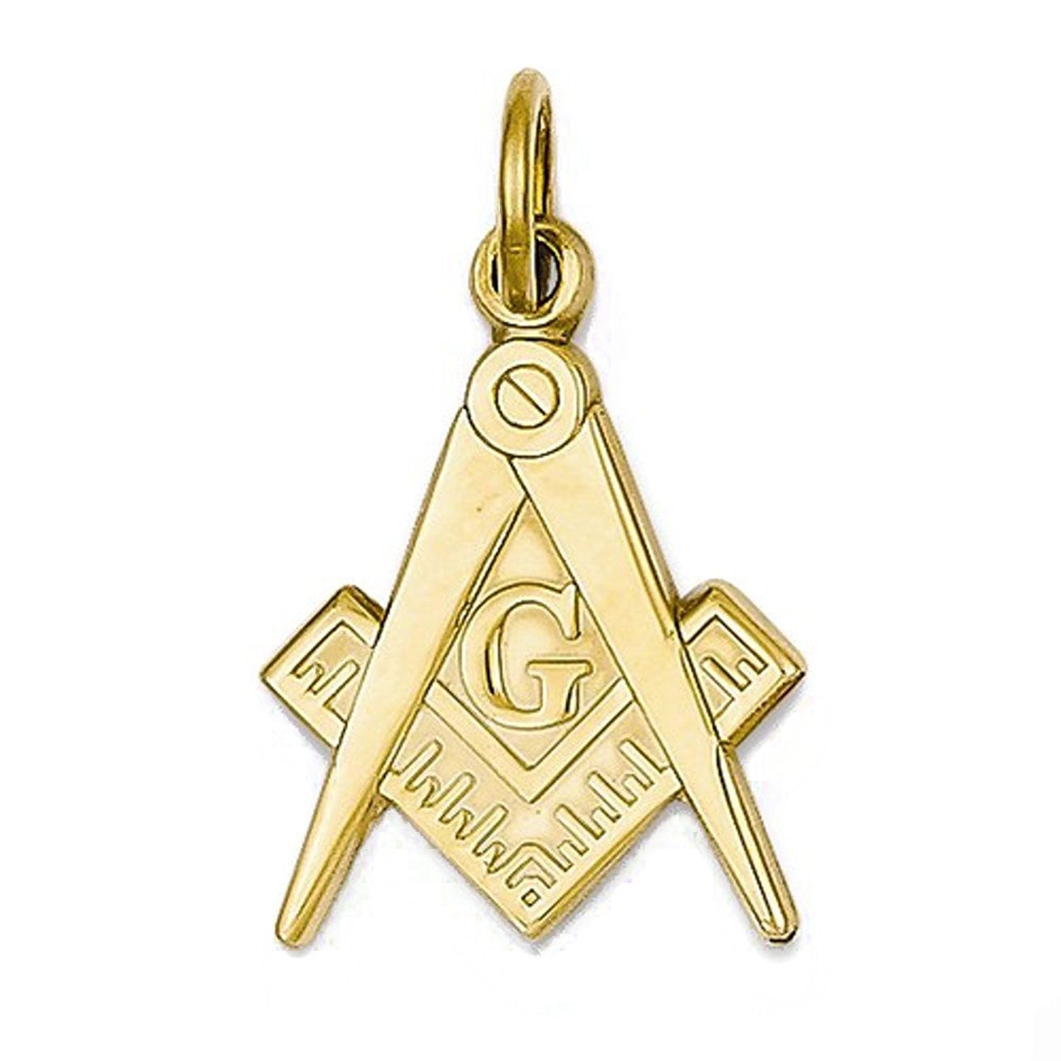 14k Yellow Gold Masonic Pendant Charm