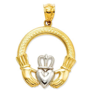 14k Yellow Gold and Rhodium Claddagh Open Back Pendant Charm
