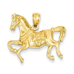 14k Yellow Gold Horse Open Back Pendant Charm