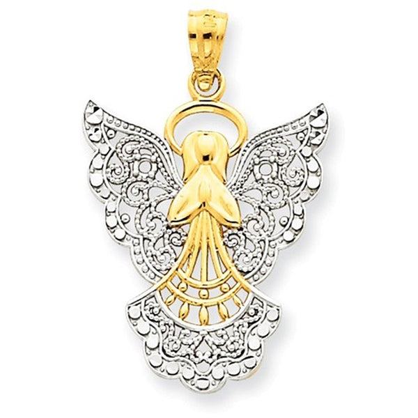 14k Yellow Gold and Rhodium Angel Filigree Pendant Charm