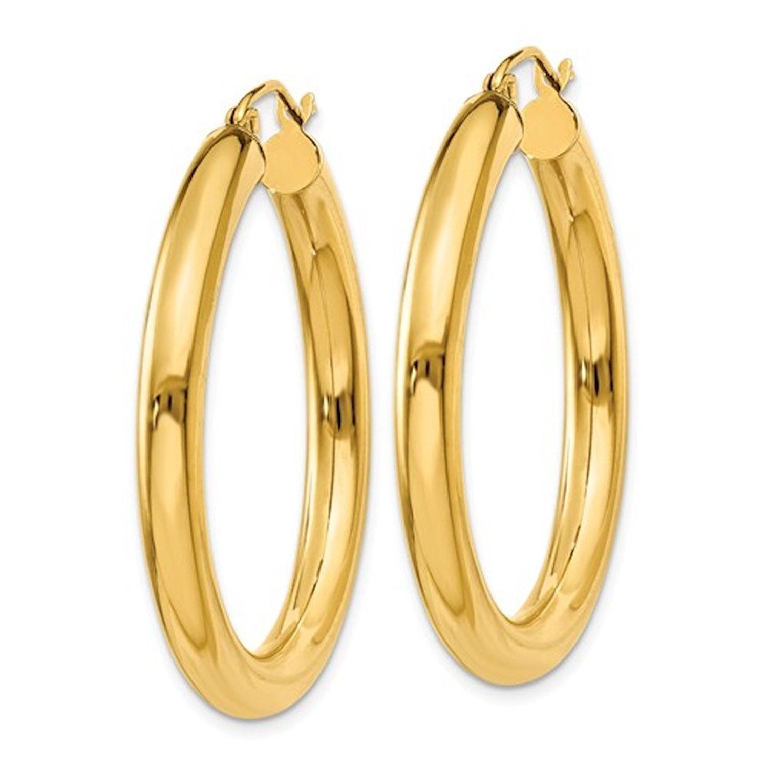 14K Yellow Gold Classic Round Hoop Earrings 34mmx4mm