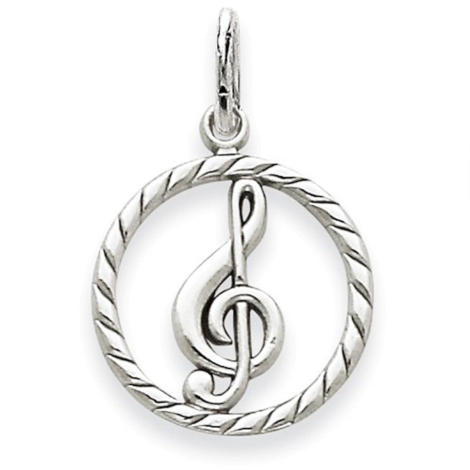 14k White Gold Music Treble Clef Symbol Pendant Charm