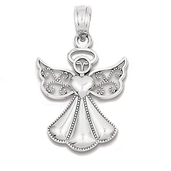 14k White Gold Angel Open Back Pendant Charm