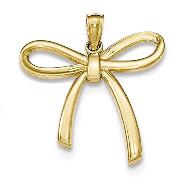 14k Yellow Gold Ribbon Bow Open Back Pendant Charm