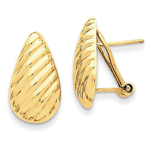 14k Yellow Gold Textured Teardrop Omega Clip Back Earrings