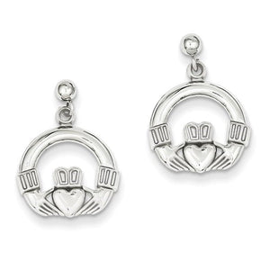 14k White Gold Celtic Claddagh Post Push Back Earrings