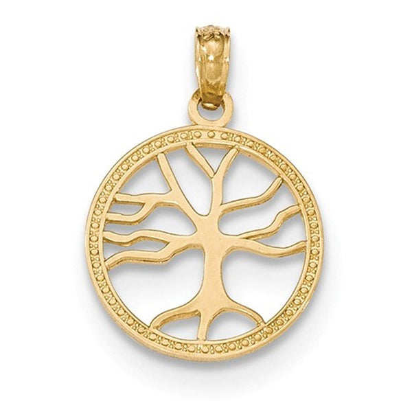 14k Yellow Gold Tree of Life Round Small Pendant Charm