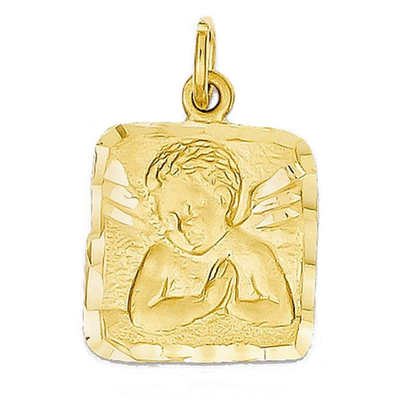 14k Yellow Gold Angel Square Pendant Charm