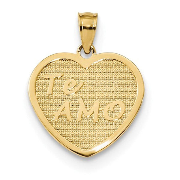 14k Yellow Gold Te Amo Heart Pendant Charm