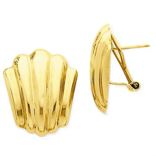 14k Yellow Gold Shell Design Omega Back Post Earrings