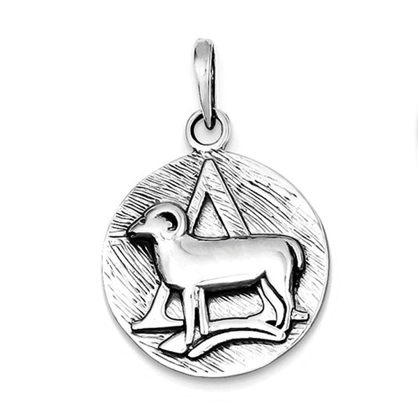 Sterling Silver Zodiac Horoscope Aries Antique Finish Pendant Charm