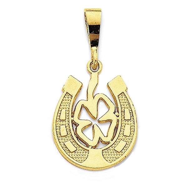 14k Yellow Gold Horseshoe Lucky Clover Pendant Charm