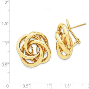 14k Yellow Gold 21mm Love Knot Tube Hollow Omega Earrings